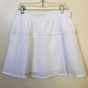 Madewell White Lined Boho Skirt